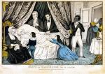 Family, friends, physician, and domestics gather around Washington's death bed.