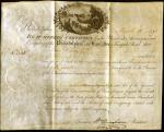 <i> Stock Certificate on parchment, Philadelphia and Lancaster Turnpike Road Company</i>,  No. 355, March 16, 1795.