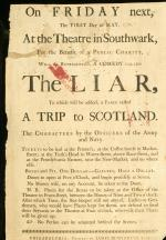 Flyer, 1778, Southwark  Theatre Performance, Philadelphia.