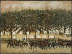 Oil on canvas of the Fourth Pennsylvania Cavalry [McClellan Drilling Troops, 1861.