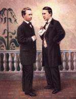 Hand-colored Ambrotype of Stephen Foster and George Cooper standing and facing each other, circa 1863.
