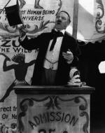 W.C. Fields as a carnival sideshow announcer in a scene from the 1927 Paramount Pictures film, Two Flaming Youths.