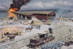 Bradley Schmehl painting of  the burning of the Columbia-Wrightsville Bridge
