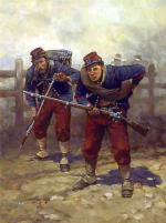This painting depicts two 14th   Brooklyn soldiers in the distinctive uniform design based on that of the French Chasseurs.  The uniform consisted of pleated red trousers and a skirted blue chasseur jacket.  A double row of fourteen or fifteen brass buttons adorned the front of the jacket. Under the jacket, a fifteen-button red waistcoat, or vest, was worn.  Red chevrons were worn on the forearms of both sleeves.  The men wore white leggings or gaiters; the outfit topped off with a red kepi with a blue band and crown upon which the number 14 shone in brass numerals.  White gloves and paper collars were worn for dress parade.