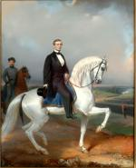 Oil on canvas of Jefferson Davis on horseback.
