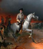 Oil on canvas of Robert E. Lee on horseback.'