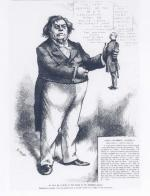 Cartoon drawing with Hancock as a puppet, by Thomas Nast.