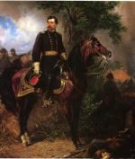 Oil on canvas painting of McClellan on horseback.'