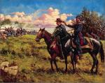 Oil on canvas of John Reynolds and John Buford at Gettysburg.
