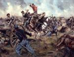 "The ""Gray Comanches"" painting depicts Confederate Colonel Elijah White leading the 35th Battalion  Virginia Cavalry into the center of the battle."