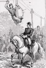 Drawing of troopers cutting telegraph wires.