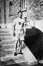 Jim Thorpe in his Olympic uniform, Stockholm, Sweden, 1912.