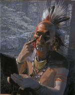 Image of Native American putting on war paint.
