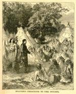 """Brainerd Preaching to the Indians"" In this wildly inaccurate illustration from the mid-1800s, the artist depicted eighteenth-century Delaware Indians in the costume and culture of Plains Indians, placing them in teepees rather than bark houses, and dressing them with Plains-style headdresses."