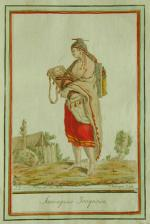 Like many Iroquois women of the time, she wears a cloak and skirt made from European trade cloth and native-style jewelry in her hair and ears.  She also carries two cradleboards, which  Indian women used to carry and attend to small children.