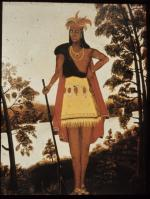 This folk painting from the early nineteenth century presents Shikellamy as an American primitive, dressed in animal skins and standing against a wilderness background.