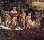 A detail from a painting by Robert Griffing that depicts the kidnapping of colonist Mary Jemison by Shawnee Indians and French raiders.