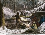 Hand-Colored Print of The Indian at Work: Maple-Sugar-Making in the Northern Woods after a sketch by W.M. Cary, ca. 1880-1890.