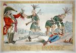 "Charles denounces British and Indian depredations on the American frontier during the War of 1812, alluding specifically to the practice of offering bounties for American scalps. The cartoon may have been prompted by the August 1812 massacre at Chicago and the purchase of American scalps there by British Colonel Proctor. On the left a British officer receives a bloody scalp from an Indian, who has a purse with ""Reward for Sixteen Scalps"" hanging from his flintlock. The Indian's knife and tomahawk bear the initials ""GR"" (for Georgius Rex, i.e., King George). The officer says, ""Bring me the Scalps and the King our master will reward you."" From a button on the officer's coat hangs a tag or sack labeled ""Secret Service Money."" At right, another Indian is in the process of scalping a fallen soldier; another dead, scalped soldier lies nearby. In the background two Indians and two soldiers dance about a campfire. Below are eight lines of verse: ""Arise Columbia's Sons and forward press, / Your Country's wrongs call loudly for redress; / The Savage Indian with his Scalping knife, / Or Tomahawk may seek to take your life; / By bravery aw'd they'll in a dreadful Fright, / Shrink back for Refuge to the Woods in Flight; / Their British leaders then will quickly shake, / And for those wrongs shall restitution make."""