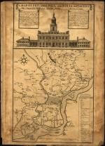 A hand-drawn map of the city of Philadelphia and surrounding areas. At the top of the map is a large drawing of Independence Hall.