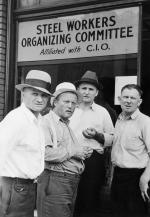 Steel Workers In Front Of Headquarters