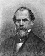 Engraving of John A. Roebling shows the image of a serious man with a beard in formal attire.