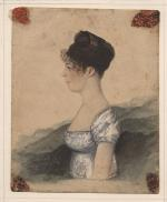 Watercolor profile portrait of Susanna Rowson.
