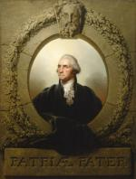 Framed oil on canvas portrait of George Washington, head and shoulders.