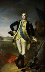 Oil on canvas of George Washington, standing, in uniform.'