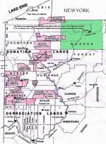 Map illustrating Donation and Depreciation Lands in Pennsylvania.