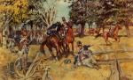 Painting of a battle scene.