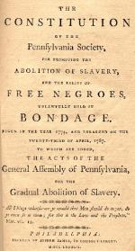The Constitution of the Pennsylvania Society for Promoting the Abolition of Slavery title page.