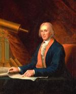 Oil on canvas of David Rittenhouse and his telescope.