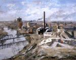 Depicts landscape entirely dominated by industry which includes barren trees, an excavated hillside in the foreground, mills, smoking chimneys, storage tanks, and the smokestacks.   '