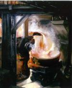 This oil on canvas depicts the interior of a steel mill and the process of tapping a furnace. A converter of molten steel is being poured into a waiting railcar.'