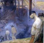 A dark oil on canvas of workers heading to work. A prominent shirtless worker smoking a pipe stands in the foreground as other workers headed to work fade into the background.  '