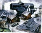 Oil on canvas of cars parked just beyond the entrance to a road that leads into the Coal Tipple. Scant figures of workers dot the landscape, as do buildings and smokestacks. '