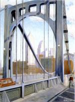 Captured in the bright light of mid-day, the great semi-circular archway of the suspension bridge serves as a frame for the skyscrapers of downtown Pittsburgh.    '