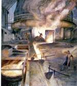 This oil on canvas depicts iron workers tapping the metal from a blast furnace.'