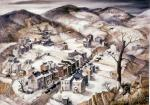Oil on canvas of a bird's eye view of the snow-covered countryside that stretches off into the distance. In the foreground is the small company town that has a variety of old homes lining both sides of the street. A tree, leafless and missing most of its branches, has black birds perching in the remaining limbs.  On the far hillside, one can see a coal mine, a small country church, and cemetery. '
