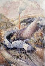 This oil on canvas depicts a mining operation. A sign on the entrance reads Clymer No. 1 Mine of the CBC Corporation, located in Indiana, Pennsylvania. '