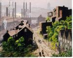 Oil on canvas of a mill town with the factory in the background.'