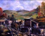 Painting of mules and mining.'