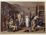 Painting of a black musician playing the violin, patrons sitting and standing, and a couple dancing.  Inside this county tavern there is also roaring fire in the fireplace and a dog taking a scrap from a lady.