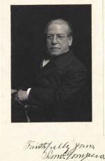 Portrait of Samuel Gompers (1850-1924), first President of the American Federation of Labor, 1886-1894, 1896-1924. On photo, inscribed 'Faithfully yours, Saml. Gompers.'