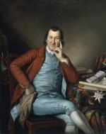 Oil on canvas of Timothy Matlack as a young man, sitting with legs crossed, dressed like a dandy in a bright blue vest and leggings with buttons on the sides, a silk white shirt and silk scarf in his right hand, silver gray socks, and rust colored coat.
