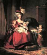 This oil on canvas painting depicts Marie Therese Charlotte de France, Madame Royale, and her brother, Louis-Joseph, Le Dauphin, standing. Louis-Joseph died of natural causes early in the year that the revolution began. The next younger child, Louis-Charles, Duc de Normandie, shown on the Queen's lap, then became the second Dauphin. The empty cradle represents a child that passed away, Princess Sophie.
