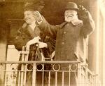 Andrew Carnegie saying farewell to Pittburgh. Mr. Carnegie and Louise Carnegie, his wife, leaving East Liberty Station in 1914 on last visit to this city.