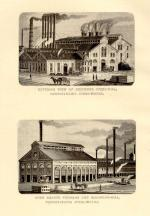 The top image is the exterior of Bessemer Steel-Mill, Pennsylvania Steel Works. The bottom image is Open Hearth Furnace and Blooming Mill, Pennsylvania Steel Works.'