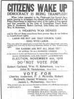1919 flyer urging citizens to wake up and understand that democracy is being trampled.